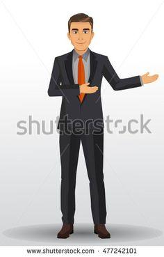 Businessman with black suit, vector illustration