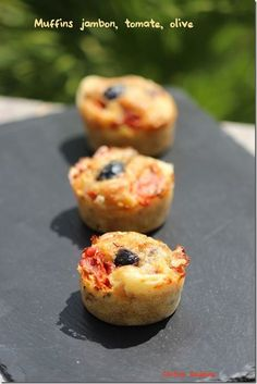 Muffins jambon, tomate, gruyère, olive