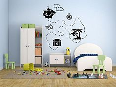 Wall Decal Sticker Bedroom Pirate Map Treasure Movie Acti...