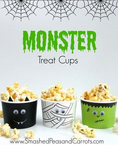 DIY Monster Treat Cups. These are great and perfect for Halloween parties!