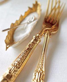 gold cutlery...