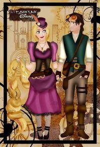 Steampunk Rapunzel and Eugene