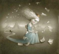 What history will write the princess? Who reads it? / ¿Qué historia escribirá la princesa? ¿Quien la leerá? (ilustración de Nicoletta Ceccoli)