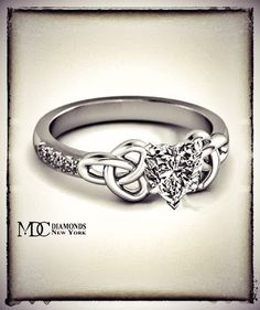 Heart Shape Diamond Celtic Knot Engagement Ring  #celticengagementring   #heartengagementring