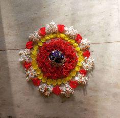 Flower Rangoli, Flower Mandala, Flower Arrangement, Floral Arrangements, Floating Flowers, Rangoli Designs, Birthday Parties, Floral Wreath, Birthdays