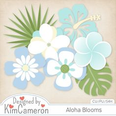 Daisies & Dimples Aloha Blooms CU [kimcameron_alohablooms] - Create some tropical flowers with these bloom templates! Includes a PSD and separate PNG layers for 5 flowers and 2 leaves. Commercial use ok!