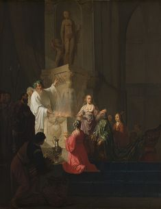 #27 Willem de Poorter, The Idolatry of King Solomon, c. 1635. (on loan from the Rijksmuseum, Amsterdam) The story depicted in this painting comes from the Old Testament of the Bible. Although one of the Twelve Commandments proclaimed by Moses prohibits idolatry, King Solomon was pursued by his wives to worship pagan deities. This would turn out to be the start of the demise of his kingdom.