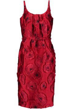 Belted pleated jacquard dress   OSCAR DE LA RENTA   Sale up to 70% off   THE OUTNET