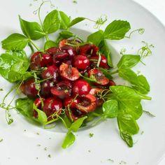 Bing Cherry & Pea Vine Salad with Basil & Mint & Creamy Lime Vinaigrette   LunaCafe