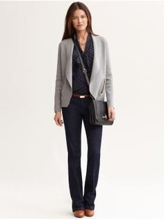"Banana Republic- A great casual ""go to"" outfit for fall/winter. Utilize your neutral greys to pair up with your denim and a pretty blouse underneath.   Your belt positioning will be more proportionate to your natural waist, or not as low on the hip."