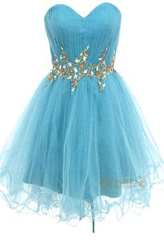 A-line Sweetheart Blue Tulle Short Prom #Dresses Am143 $138.00 http://www.wishesdresses.com/collections/prom-dresses/products/a-line-sweetheart-blue-tulle-short-prom-dresses-am143