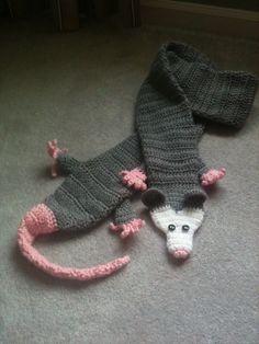 child sized opossum scarf by WhoMadeTheCake on Etsy, $38.00