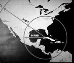 map showing range of Soviet missiles if launched from Cuba during the Cuban Missile Crisis
