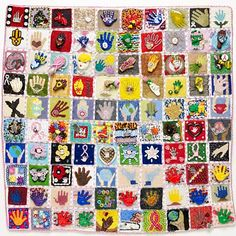 This is one of the quilts completed by 672 people, each one contributing one square for a cancer patient.  Can go to EncycloBEADia at FireMountain.  Wouldn't this be a great project for every city in the U.S.