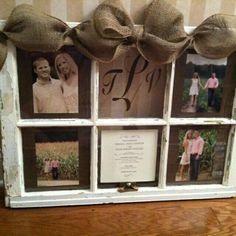 Ideas wedding gifts diy frame old windows for 2019 Old Window Projects, Craft Projects, Projects To Try, Old Window Frames, Window Art, Window Panes, Window Frame Ideas, Photo Window, Wood Crafts