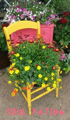 Repurposed chair into planter. General Finishes milk paint. Done by Soul Patina.