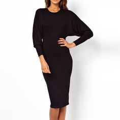 ASOS Batwing/ Dolman Sleeve Midi Dress Black midi! Open back (fits more loosely / drapier than pictured). High neck and ties in back . Loose top/ fitted bottom. Tapers down from waist to knee. Viscose material. Not lined. Worn gently/ great condition! ASOS Dresses Midi