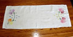 Nice Vintage Embroidered Linen Table Runner / by estatesalegems, $6.50