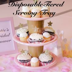 Tiered serving tray. To make it stronger, use a hot glue gun and put something in the cups to weigh it down