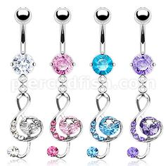Pierced Fish Category > Body Jewelry > Fancy Belly Ring > NAL11430::316L Surgical Steel Multi CZ G-Clef Music Note with Star Navel Ring