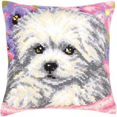 "Little Doggy Stamped Cross Stitch Pillow Cushion Kit 16"" x 16"""