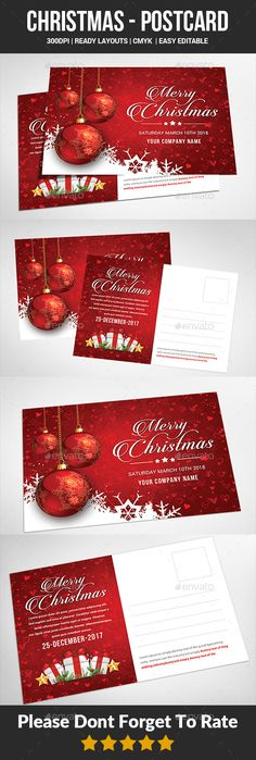 Christmas - Postcard Templates - Cards & Invites Print Templates Features : - Editable in adobe photoshop - Professional design - Uses free fonts - All objects, colors, & text are editable - Easy to Edit Invitation Card Design, Invitation Cards, Invitations, Christmas Design, Vintage Christmas, New Year Postcard, Apples To Apples Game, Postcard Template, Party Flyer