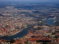 Portugal - View of Porto (upper side, on northern bank) and Vila Nova de Gaia (lower side, on southern bank) with Douro River between the two cities.