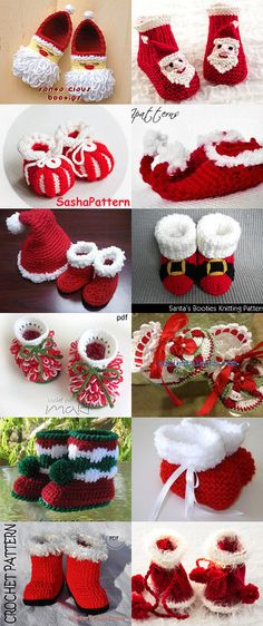 "diy_crafts- sapatinhos ""Christmas Baby Booties treasury with kittying.c product included"", ""Christmas Baby Booties Red Boo \""Note to self: fin Christmas Crochet Patterns, Holiday Crochet, Christmas Knitting, Crochet Baby Shoes, Crochet Baby Booties, Crochet Slippers, Knitted Baby, Baby Knitting Patterns, Crochet Crafts"