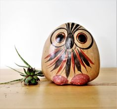 Vintage Mexican Folk Art Owl Figurine, Mexican Owl Ceramic Figurine, Woodland Animal, Tonala Owl, Mexican Folk Art Tonala Owl figurine by TheRoughGem on Etsy