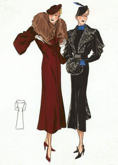 30s Fashion Ladies' Outerwear, please...someone make me the black coat, muff and hat!