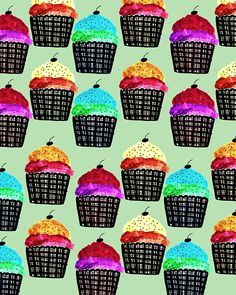 Colorful Cupcakes. #illustration #pattern