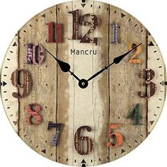 Mancru Inch Thickness Vintage Not Cover Silence Wall Clock Shabby Wooden Large Round Non-Ticking Quiet Quartz Wall Clock Decoration Wall Art Clock The Rustic Clock