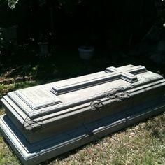 Creepy foam halloween prop tomb.