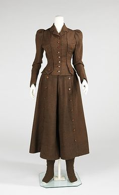 This outfit is called a cycling suit. These garments were worn by women when they were on their bicycle. The pants of this garment are so loose fitting it almost resembles a skirt. There is a piece the wearer could attach to the buttons on the front of the pants to make it look like a skirt. A matching jacket completed the ensemble. This American cycling suit was made around 1896-1898 out of wool, leather, silk, linen, and cotton.