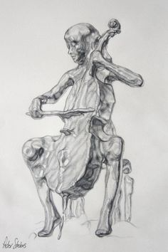 Fluidity concept design by Peter Strobos. Drawing of a cellist playing her cello, in graphite pencil on paper.