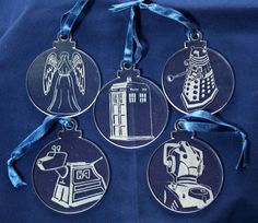 Dr Who Hand Engraved Christmas Decorations  Set by PimpedMyStride