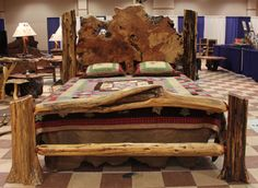 Cedar Log Headboards | ... cedar logs and burl wood slabs creating a unique natural wood bed