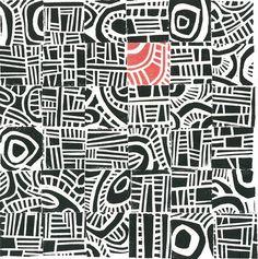 LINOCUT PRINT - Hundertwasser Mini Mid Century Modern Print, inspires... Collaborative print, own stamp in red