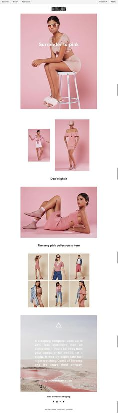 SUBJECT LINE dont fight it trend - pink email from reformation - - Web und App Design - Desings World Ecommerce Web Design, Email Marketing Design, E-mail Marketing, Email Template Design, Email Newsletter Design, Email Newsletters, Email Templates, Email Layout, Layout Online