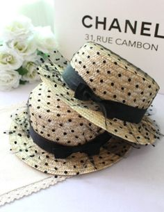 2014 Summer Black Dotted Lace Mesh Paper Straw Sun Hats For Ladies by Chanel Coco Chanel, Chanel Hat, Art Chanel, Chanel Print, Fascinators, Headpieces, Facinator Hats, Sun Hats For Women, Polka Dots