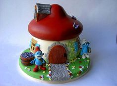 Smurf house with Brainy & Papa Smurf  Cake by BakeCakeCreate
