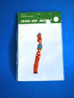 Giraffe Iron On Motif Patch - Vintage Retro Children's Swiss Embroidered Clothing - Craft Bedroom by FunkyKoala on Etsy