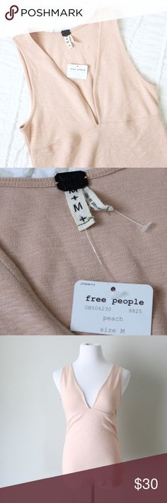 Free People V Neck Peach Tank Top Free People deep v neck peach pink tank top. Jersey fabric with partial tags.  Fits true to size. Shown on a size 4/6 mannequin. Measurements available upon request. All orders ship same or next business day! Free People Tops