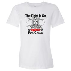 The Fight is on Against Bone Cancer powerful slogan on shirts, apparel and gifts featuring boxing gloves and an awareness ribbon to take a firm stand for awareness and advocacy. Ideal for awareness walks, support events, walks and more by AwarenessRibbonColors.com #BoneCancersurvivor  #BoneCancerawareness  #BoneCancershirts