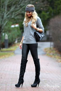 Zara sweater / H&M leather pants / Etsy hairband / Chanel / Topshop overknee boots Http://www.mungolife.fi