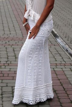 White maxi skirt crochet beautiful long skirt by TaramayKnit