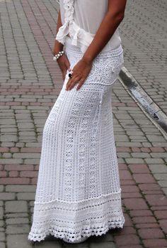 Crochet skirt maxi beautiful white skirt long skirt by TaramayKnit