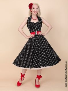 1950s Halterneck Black White Spot Dress from Vivien of Holloway