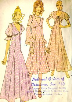 Vintage McCalls 2747 Misses Junior Midi,Maxi Fit and Flare Dress with Choker and Detachable Collar Sewing Pattern Size 13 Bust 35 Vintage Dress Patterns, Clothing Patterns, Vintage Dresses, Vintage Outfits, 60s And 70s Fashion, Seventies Fashion, Vintage Fashion, 1970 Style, 70's Style
