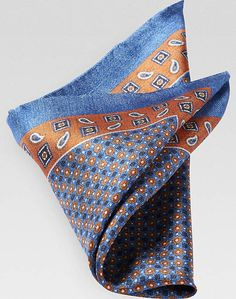 Joseph Abboud Blue & Orange Pocket Square Style #80NW80009:  [32]
